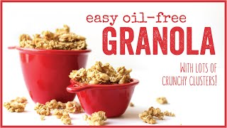 Easy Oil-Free Granola with lots of crunchy clusters! // HCLF vegan