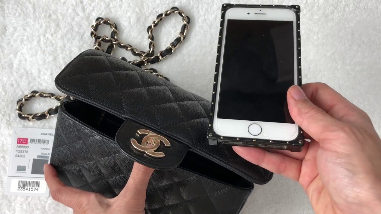 77d3e2abb7be Unboxing: Chanel Rectangular Mini 17C Black Caviar with Light GHW ...