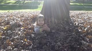 Ратмир с сестрой играют с листьями