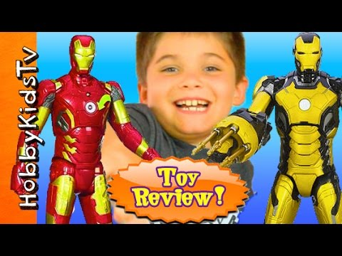 Iron Man ACTION FIGURES! Iron Man 3 Toy Review Box Open by HobbyKidsTV