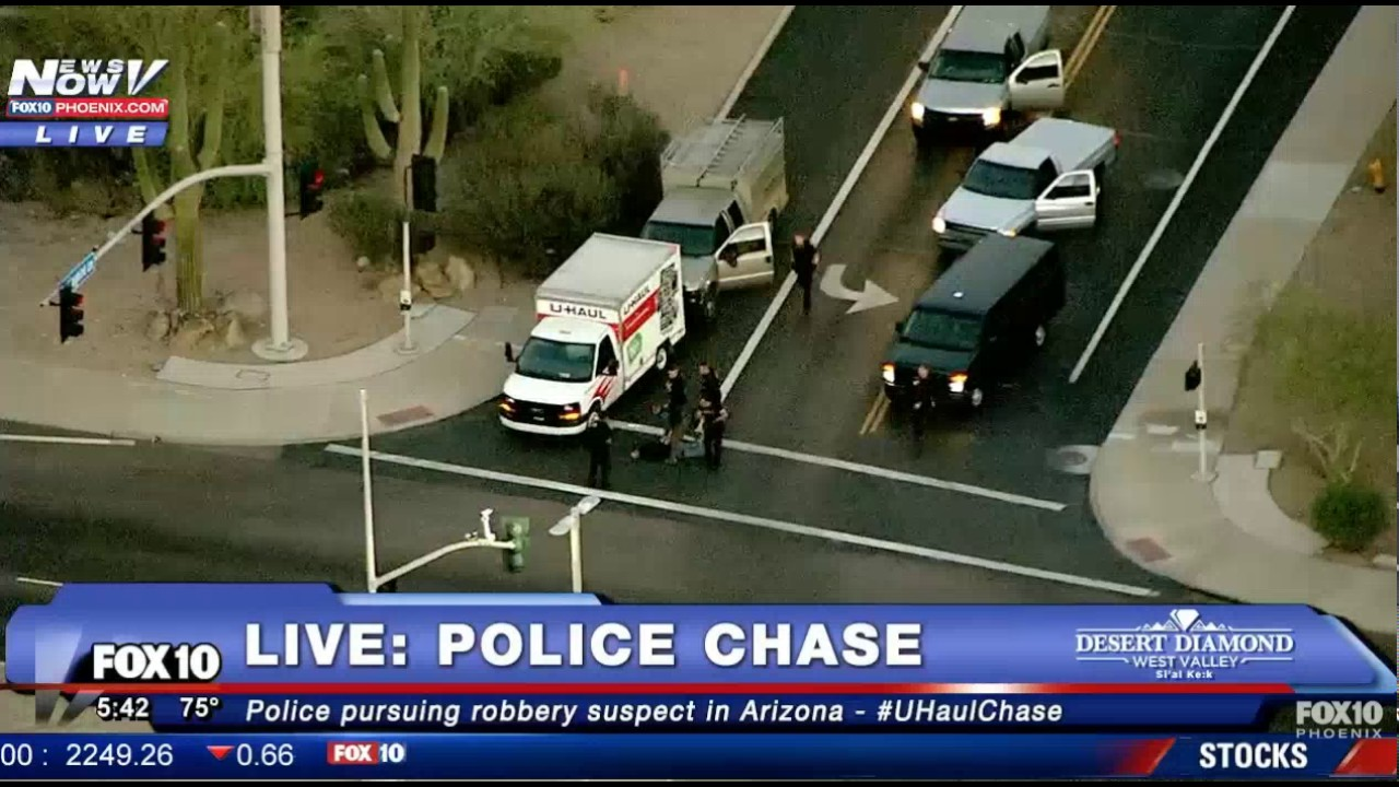 HD: Suspect gets shot live on TV Arizona Police chase of U-haul GTA  (Warning Graphic)