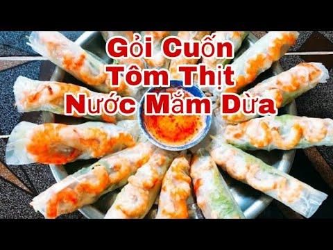 Cách Làm Gỏi cuốn tôm thịt – Chấm Nước Mắm Dừa Ngon Tuyệt | Thảo Phan Vlog !!