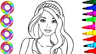 Coloring Drawings Barbie Fashionistas with Rainbow Sparkle Headband Coloring Sheet Coloring Pages