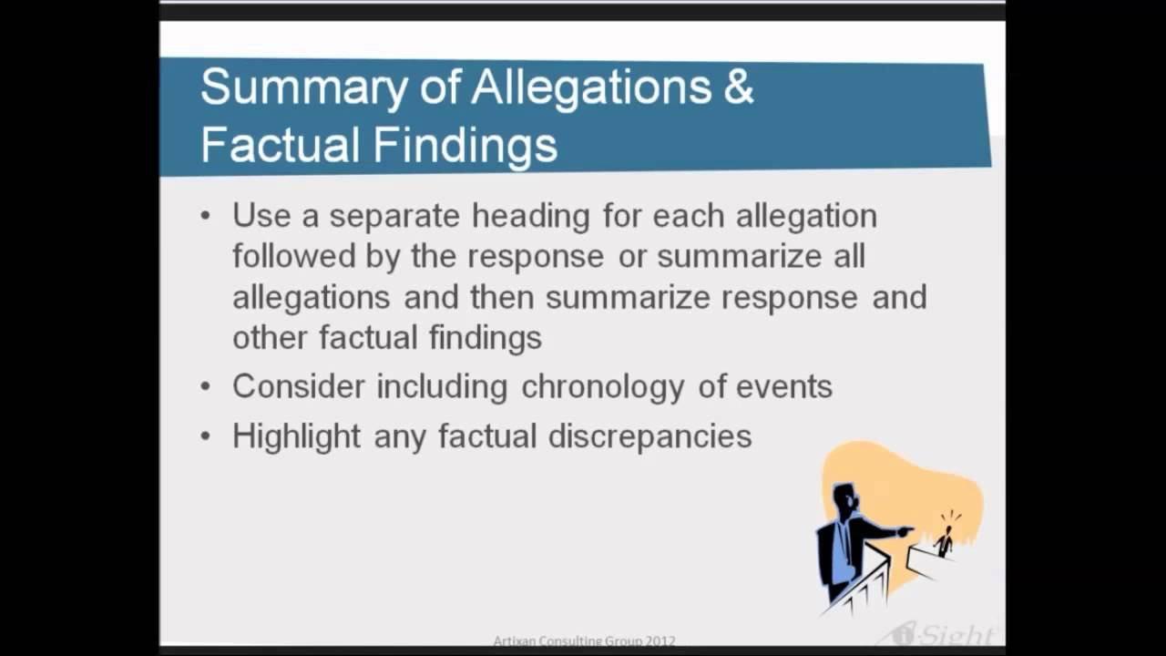 Writing Summaries and Conclusions in Investigation Reports  i-Sight