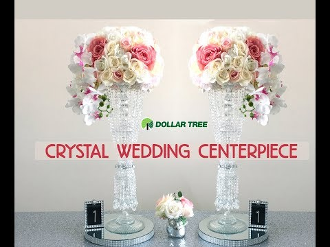 DIY Dollar Tree Tall Crystal Wedding Centerpiece -Easy - $13