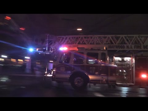 Maywood NJ Fire Department Ladder 17 Responding to Elmwood Park NJ 3rd Alarm