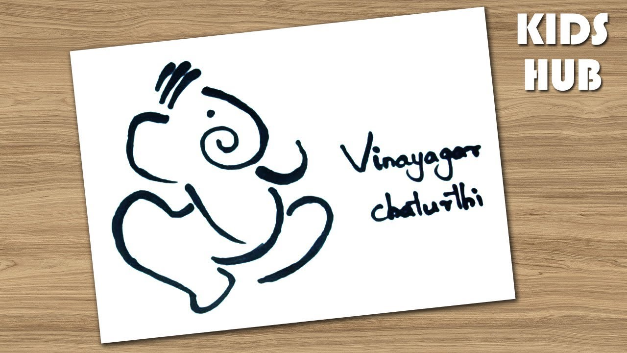 How to draw ganesha drawing for kids easy vinayaka vinayagar drawing