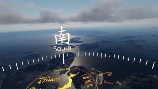 開発中の日本列島VRの新機能。水平飛行、時刻切替、高速飛行モード。 ht...