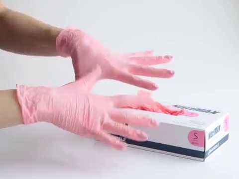 Перчатки нитриловые NitriMAX, цвет розовый