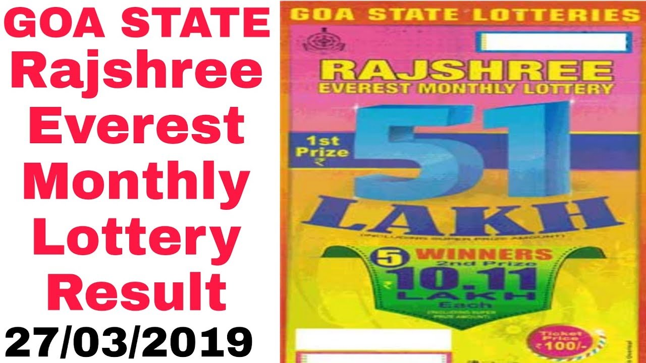 Goa state rajshree everest monthly lottery result 27-03-2019
