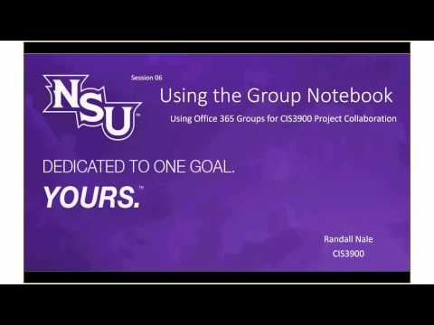 Using Office 365 Groups: Using the Group Shared Notebook