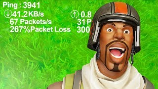 PLAYING on the HIGHEST PING in Fortnite