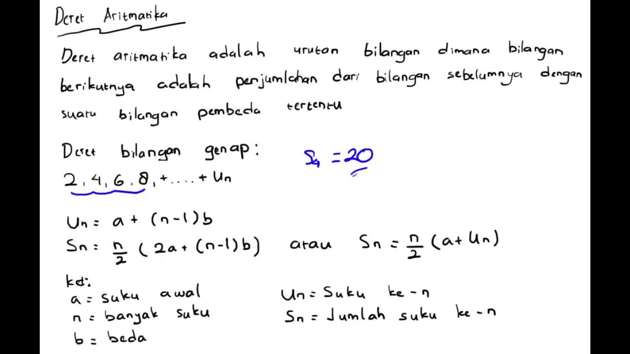 Deret Aritmatika Matematika Beserta Contoh Soal Youtube