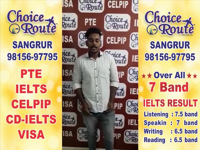 Congratulations GURMINDER SINGH - Choice Route is the Best PTE and IELTS institute in Sangrur City.