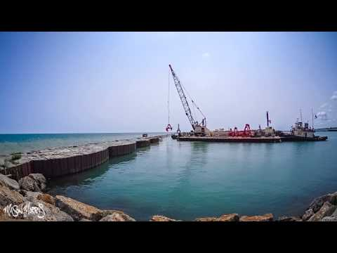 Port Washington, WI. Timelapse Breakwater Repair