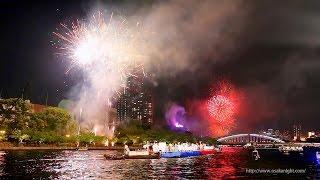 天神祭 船渡御u0026奉納花火 2014 大阪 Tenjin Matsuri Festival Fireworks Osaka Japan