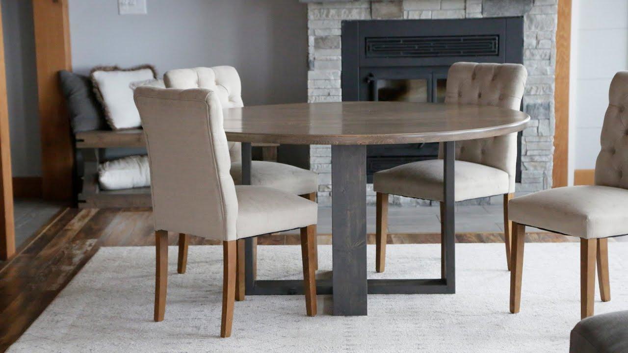Round Modern Dining Table Build Anawhite Woodworking Diningroom Youtube