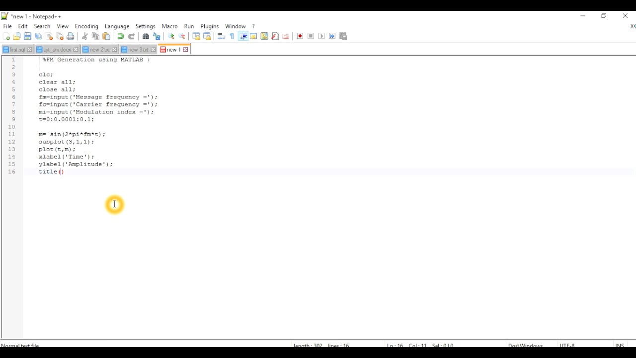 FM Generation using MATLAB Part 1