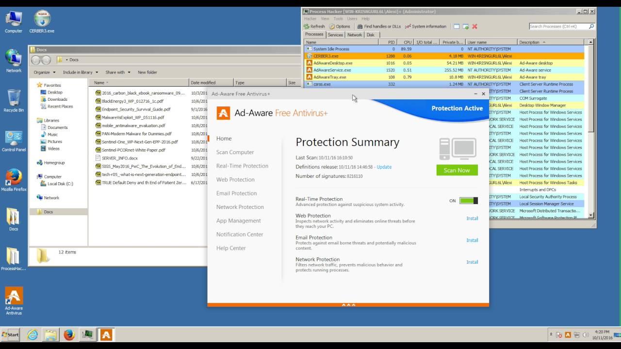 FAILED] Lavasoft Ad-Aware Free Antivirus+ 11 vs Cerber3 Ransomware