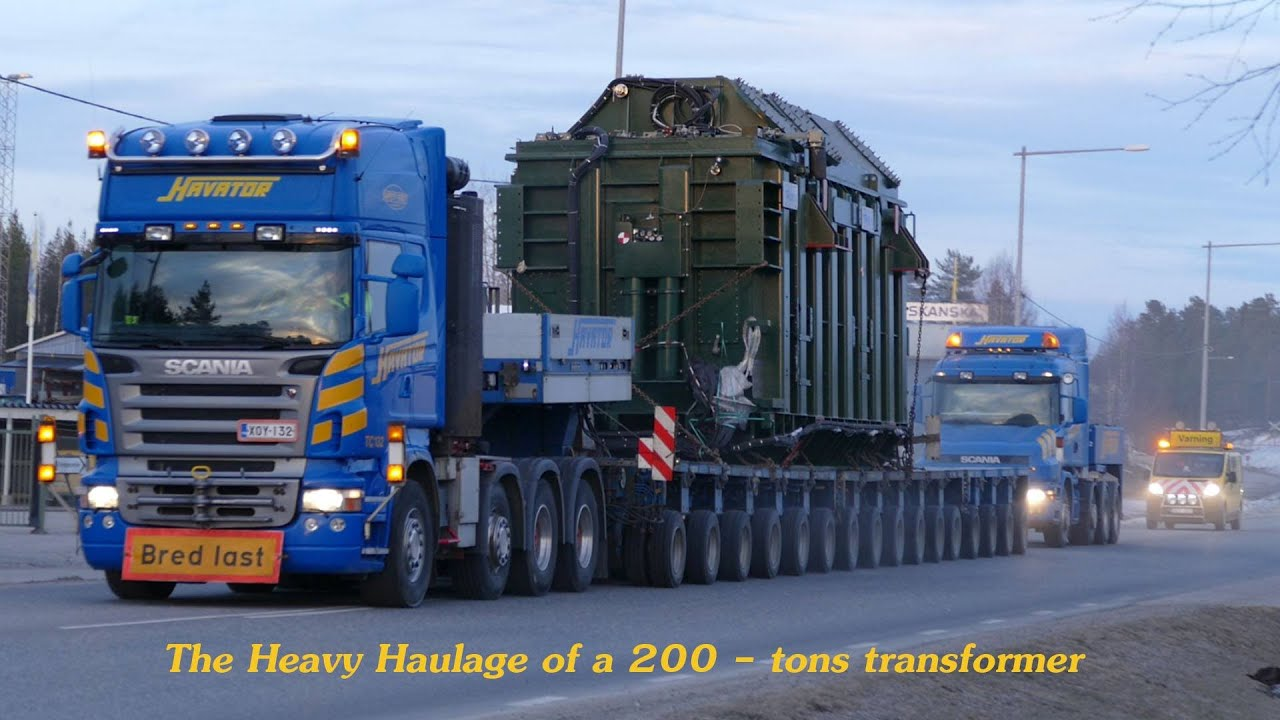 Semi Truck And Trailer >> The Heavy haulage of a 200 tons Transformer by Havator - YouTube