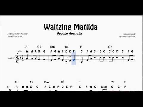 Waltzing Matilda Notes Sheet Music for Flute Violin Oboe