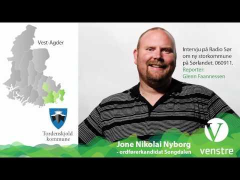 Jone Nyborg i intervju om storkommune på Sørlandet. Nye Kristiansand. Radio Sør september 2011.