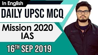UPSC 2020 – 16 September 2019 Daily Current Affairs MCQs In English for UPSC IAS State PCS 2020