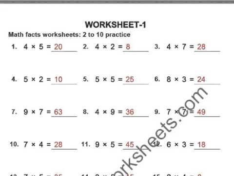 GRADE 4 MULTIPLICATION WORKSHEETS - YouTube