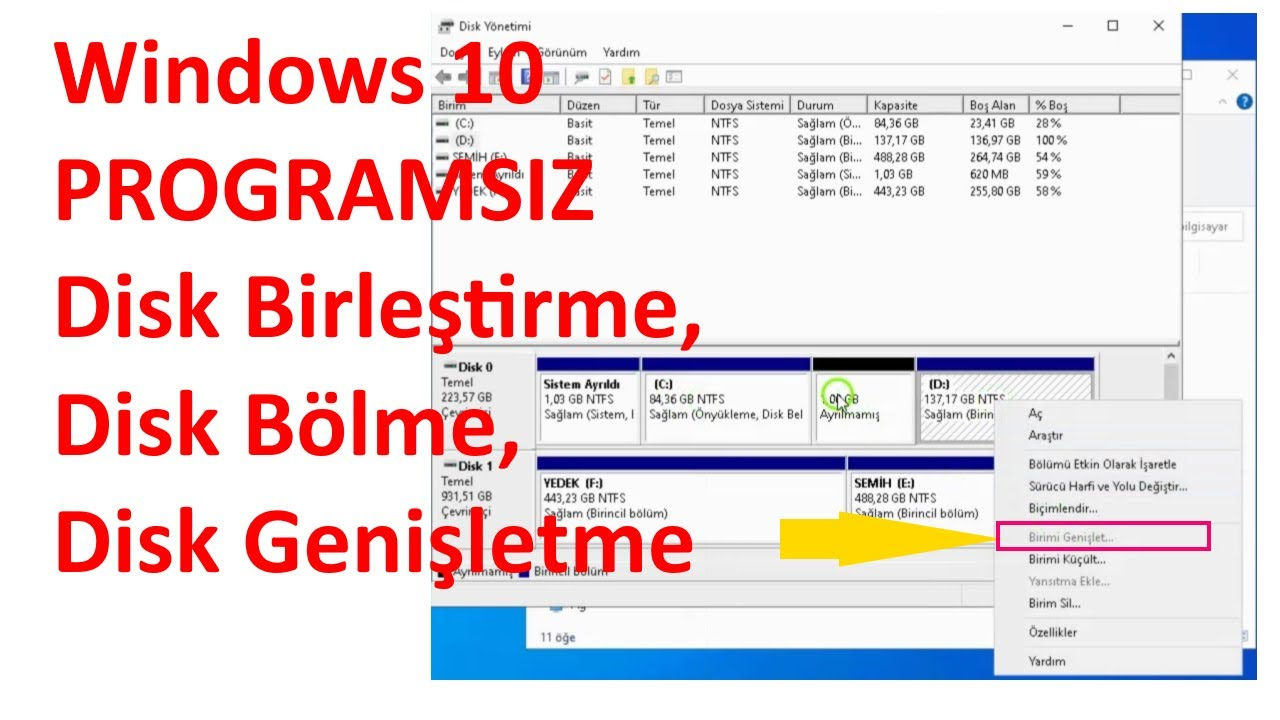 Windows Disk Bölme ve Birleştirme Nasıl Yapılır? | Programsız