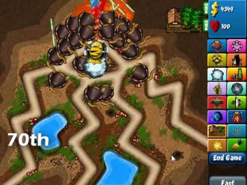 Bloons Tower Defense 4: Expert Track (Hard) - Rounds 1-75 Video Tutorial