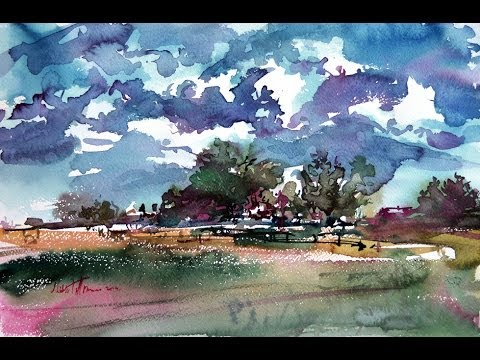 """Watercolor paintings Landscape Demo """"Summer Day"""""""