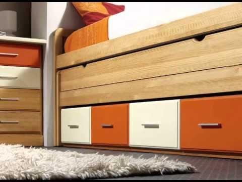 Dormitorios infantiles con camas armarios y cajones youtube - Camas de 90 con cajones ...