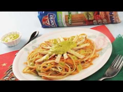 Spaghetti verduras Doria con lomo pietrán