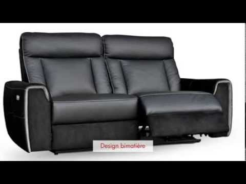 Canap 2 3 places relax lectrique en cuir romeo youtube for Canape relax electrique cuir