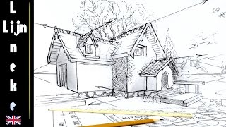 How To Draw A HOUSE  Two Point Perspective For Beginners