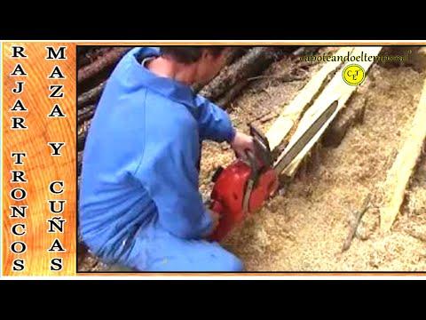 Como rajar troncos con maza y cuñas