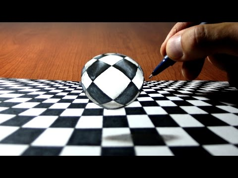Ball in chess 3D Trick Art on Paper