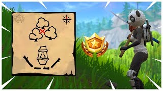 Follow the treasure map found in Dusty Divot - Fortnite Season 5 Week 7 Challenges