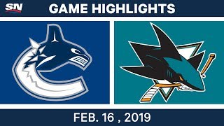 NHL Highlights | Canucks vs. Sharks- Feb 16, 2019