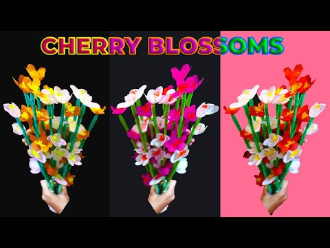 How To Make Shopping Bag Flowers - Cherry Blossoms   Make Easy Beautiful Cherry Blossom Paper Flower