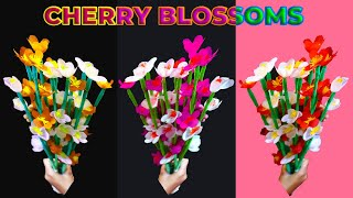 How To Make Shopping Bag Flowers - Cherry Blossoms | Make Easy Beautiful Cherry Blossom Paper Flower