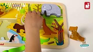 Dřevěné puzzle pro nejmenší Zoo Chunky Janod od 18