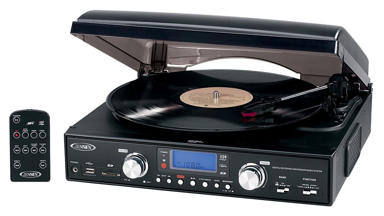 Jensen JTA 460 3 Speed Turntable With MP3 Encoding And AM/FM Stereo Radio    YouTube