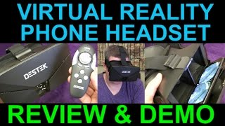 DESTEK Vone 3D VR Virtual Reality Headset and Remote for Google Cardboard - Review Unboxing Demo