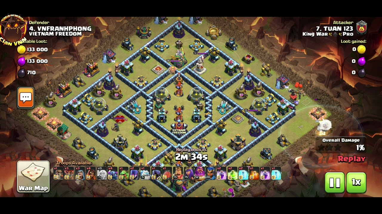 OMG Residual 6 Bat Spell TH14 |  Queen Walk Pekka Super Wiza, Hogs Miners 3 Stars TH14 war
