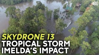Drone flies over Tropical Storm Imelda flooding