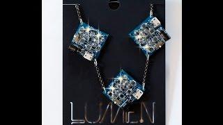 3blue square necklace
