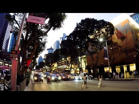 Singapore Walk. Huge and Crowded Shopping Malls in Orchard Road