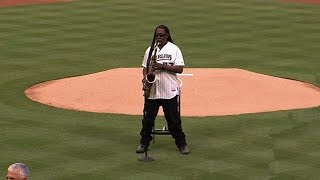 Clarence Clemons plays the national anthem