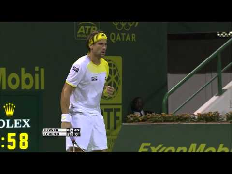 David Ferrer vs Paolo Lorenzi Qatar ATP Tennis Open [Quarterfinal 03/01/13]